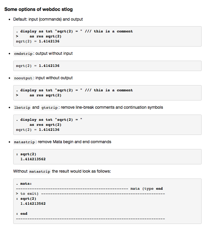 webdoc - Creating HTML or Markdown documents from within Stata